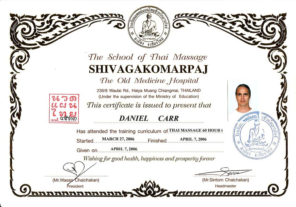 Los Angeles Thai Massage, Shivagakomarpag Certificate